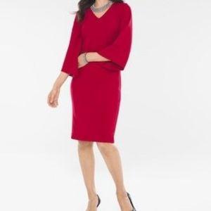 Chicos Petite Kimono Sleeve Red Dress
